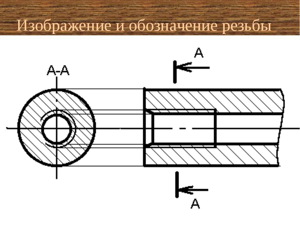 Изображение и обозначение резьбы на стержне на шпильке в отверстии (без разре...
