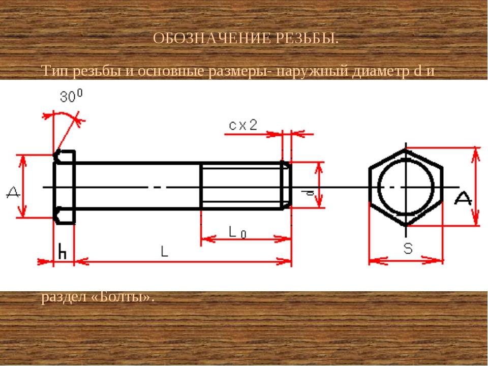 ОБОЗНАЧЕНИЕ РЕЗЬБЫ. Тип резьбы и основные размеры- наружный диаметр d и шаг Р...