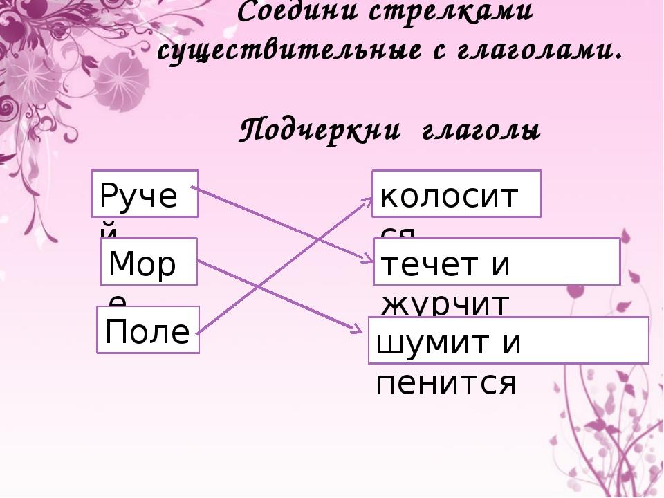 Соедини стрелками существительные с глаголами. Подчеркни глаголы Ручей Море П...