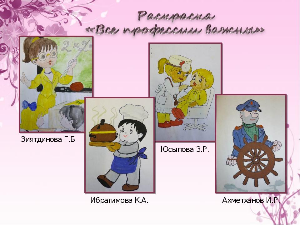 Зиятдинова Г.Б Юсыпова З.Р. Ахметханов И.Р. Ибрагимова К.А.