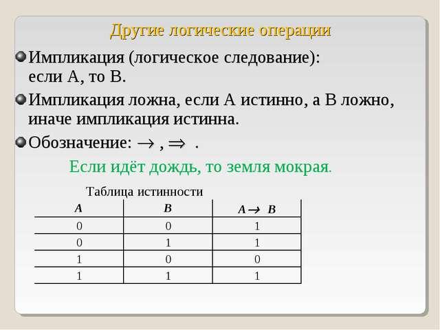 Другие логические операции Импликация (логическое следование): если А, то В....