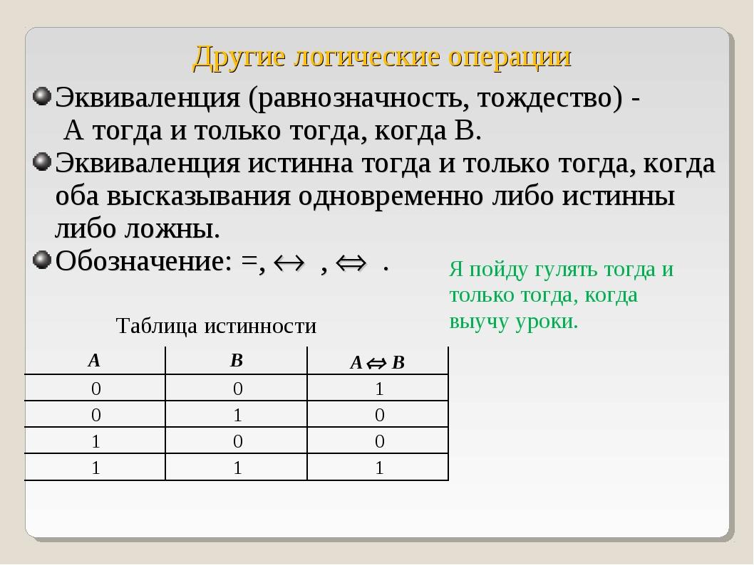Другие логические операции Эквиваленция (равнозначность, тождество) - А тогда...