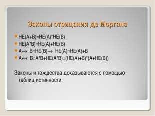 Законы отрицания де Моргана НЕ(А+В)=НЕ(А)*НЕ(В) НЕ(А*В)=НЕ(А)+НЕ(В) А® В=НЕ(В