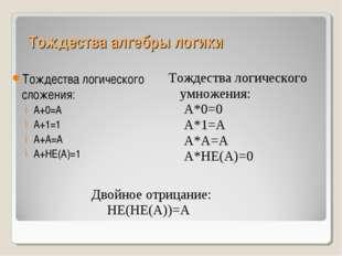 Тождества алгебры логики Тождества логического сложения: А+0=А А+1=1 А+А=А А+