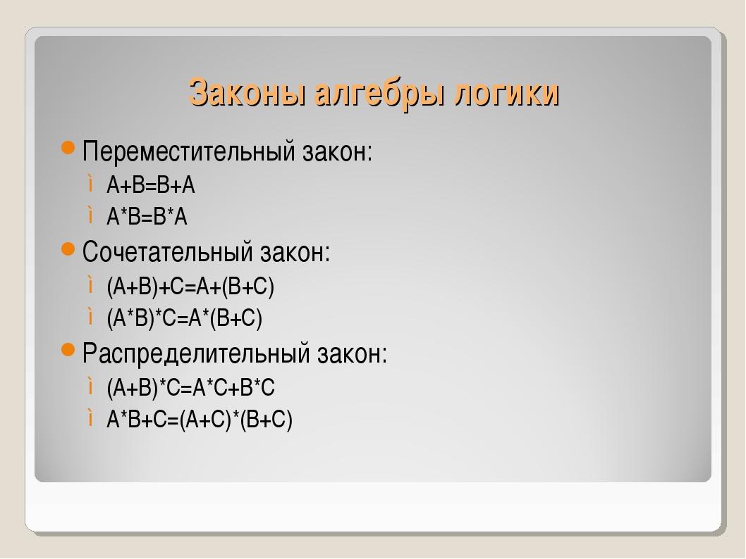 Законы алгебры логики Переместительный закон: А+В=В+А А*В=В*А Сочетательный з...