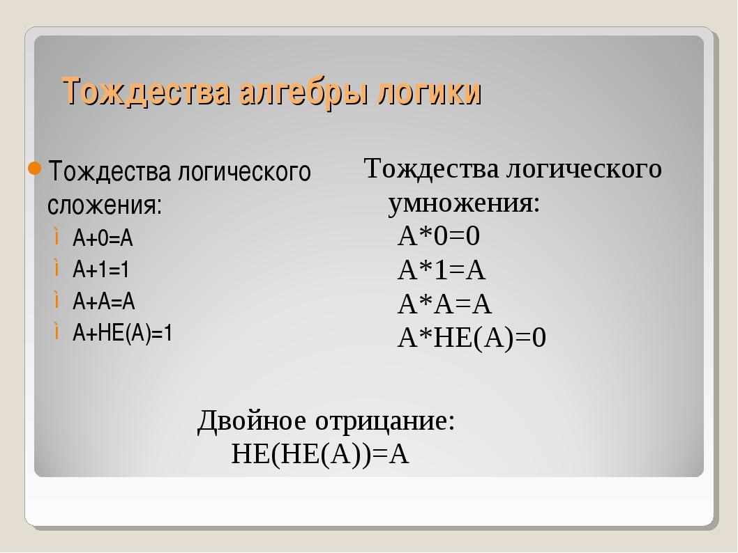 Тождества алгебры логики Тождества логического сложения: А+0=А А+1=1 А+А=А А+...