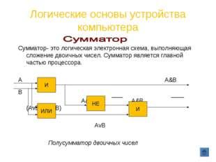 Логические основы устройства компьютера Сумматор- это логическая электронная