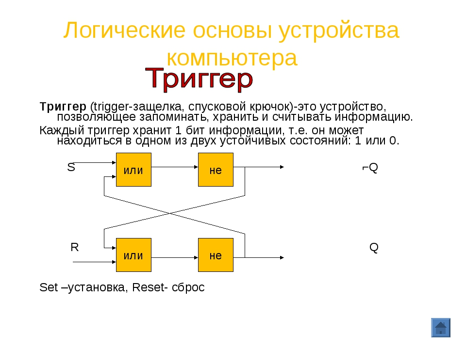 Логические основы устройства компьютера Триггер (trigger-защелка, спусковой к...