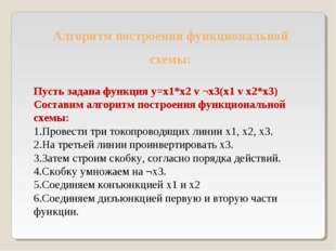 Пусть задана функция y=x1*x2 v ¬x3(x1 v x2*x3) Составим алгоритм построения