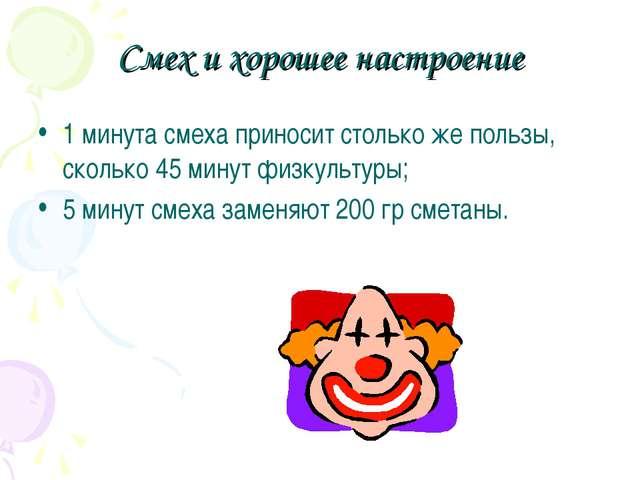 Смех и хорошее настроение 1 минута смеха приносит столько же пользы, сколько...