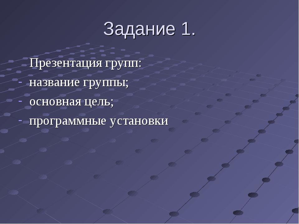 Задание 1. Презентация групп: название группы; основная цель; программные ус...