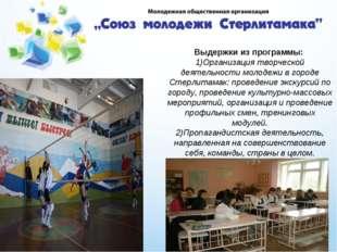 Выдержки из программы: 1)Организация творческой деятельности молодежи в город
