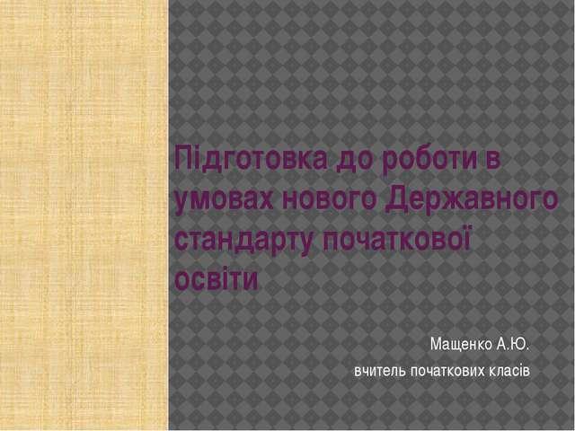 Підготовка до роботи в умовах нового Державного стандарту початкової освіти М...