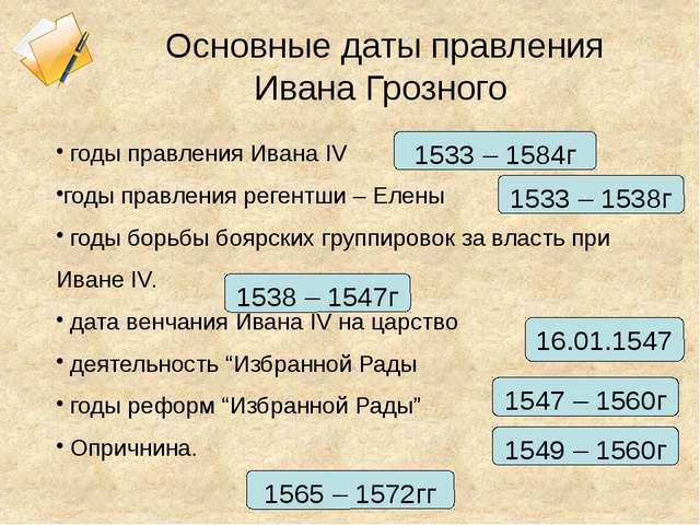 Основные даты правления Ивана Грозного годы правления Ивана IV годы правления...