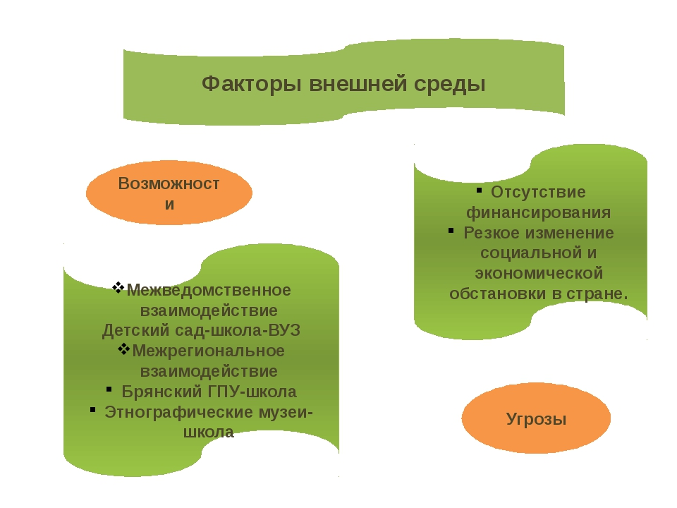 Факторы внешней среды Межведомственное взаимодействие Детский сад-школа-ВУЗ М...
