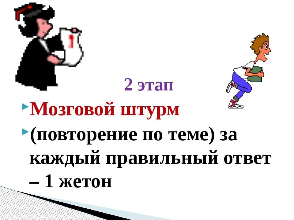 2 этап Мозговой штурм (повторение по теме) за каждый правильный ответ – 1 же...