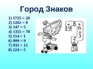 Город Знаков 1725 = 20 1262 = 0 347 = 5 1355 = 70 154 = 1 999 = 9 935 = 15 22