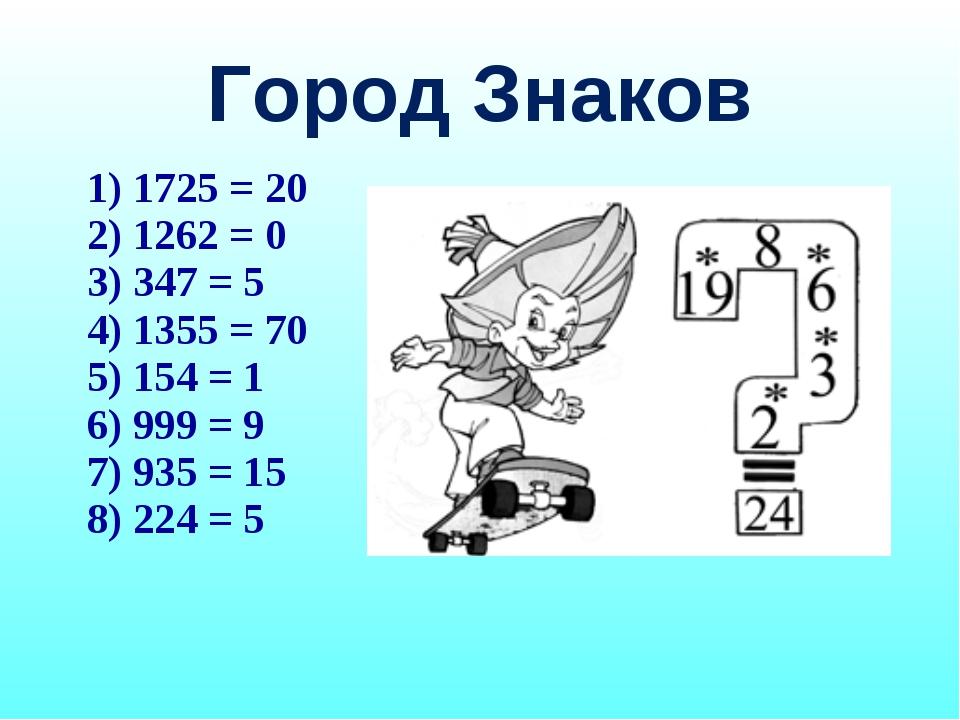 Город Знаков 1725 = 20 1262 = 0 347 = 5 1355 = 70 154 = 1 999 = 9 935 = 15 22...
