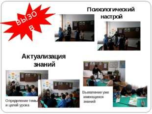 вызов Психологический настрой Актуализация знаний Определение темы и целей ур