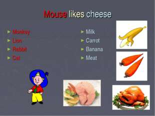 Mouse likes cheese Monkey Lion Rabbit Cat Milk Carrot Banana Meat