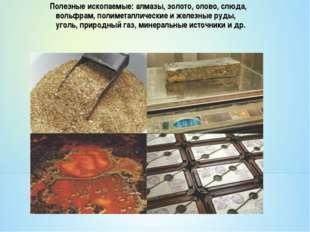 Полезные ископаемые: алмазы, золото, олово, слюда, вольфрам, полиметаллически