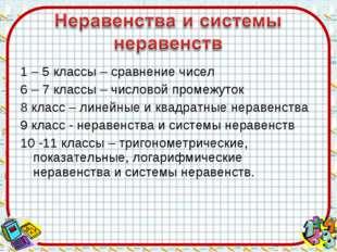 1 – 5 классы – сравнение чисел 6 – 7 классы – числовой промежуток 8 класс – л