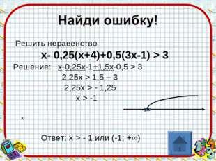 Решить неравенство х- 0,25(х+4)+0,5(3х-1) > 3 Решение: х-0,25х-1+1,5х-0,5 >