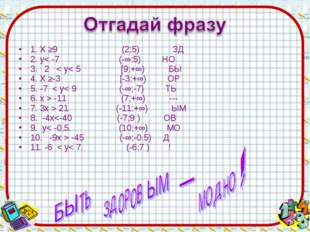 1. Х ≥9 (2;5) ЗД 2. y< -7 (-∞;5) НО 3. 2 < y< 5 [9;+∞) БЫ 4. Х ≥-3 [-3;+∞) ОР