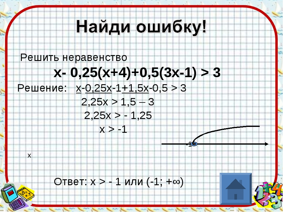 Решить неравенство х- 0,25(х+4)+0,5(3х-1) > 3 Решение: х-0,25х-1+1,5х-0,5 >...