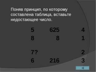 Поняв принцип, по которому составлена таблица, вставьте недостающее число. 5