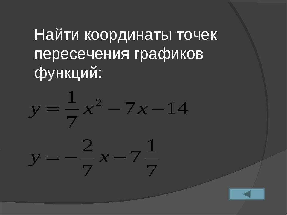 Найти координаты точек пересечения графиков функций: