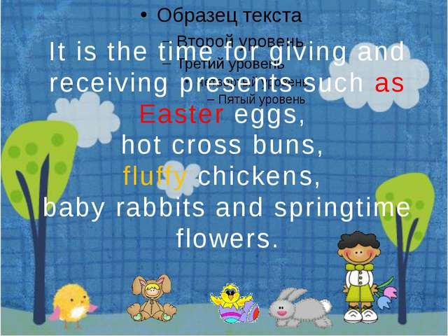 It is the time for giving and receiving presents such as Easter eggs, hot cr...