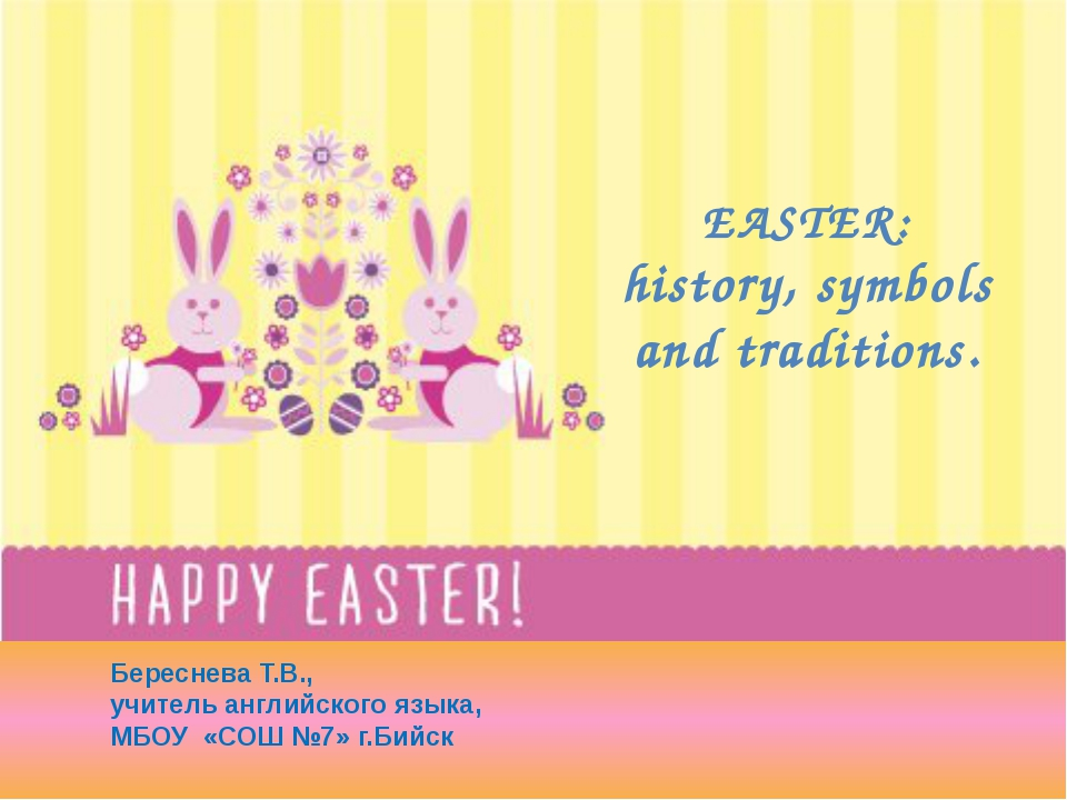 EASTER: history, symbols and traditions. Береснева Т.В., учитель английского...