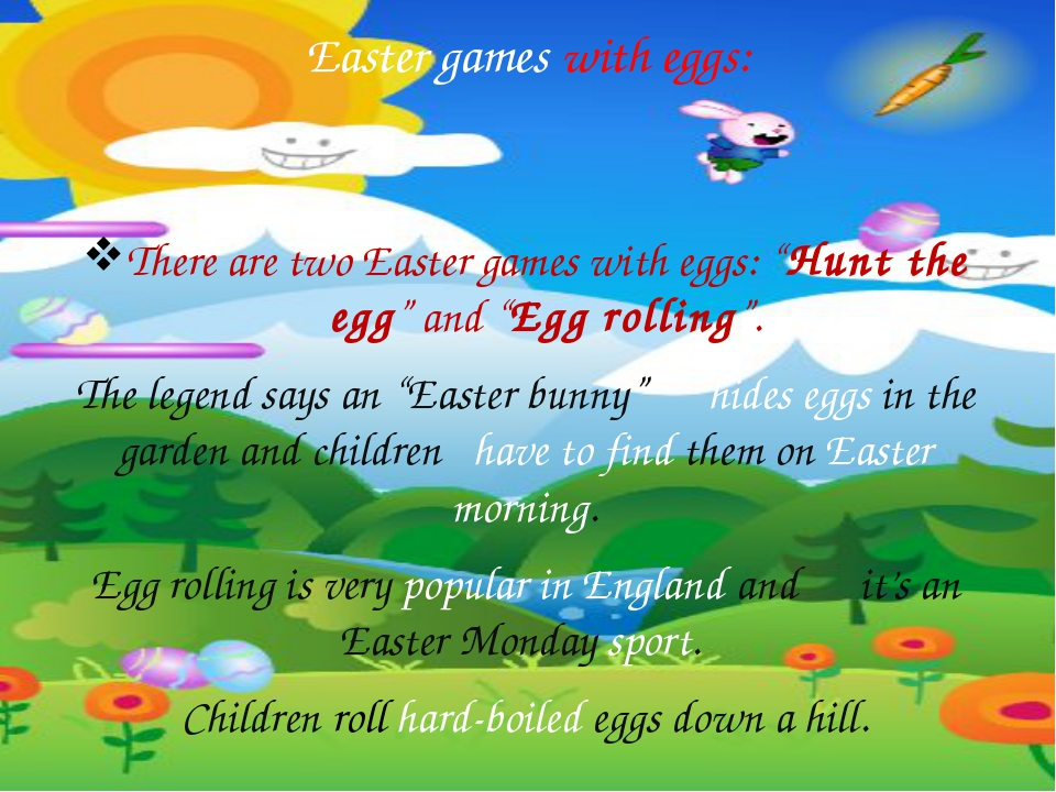 "Easter games with eggs: There are two Easter games with eggs: ""Hunt the egg""..."
