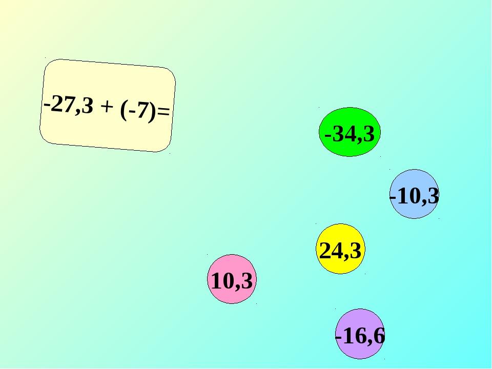 -27,3 + (-7)= 10,3 -10,3 24,3 -34,3 -16,6