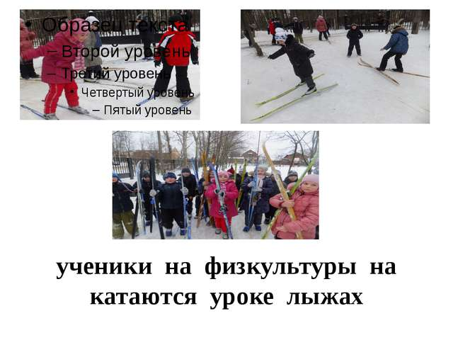 ученики на физкультуры на катаются уроке лыжах