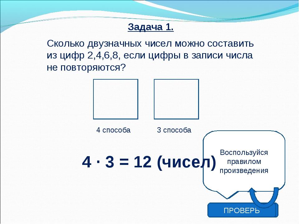 Задача 1. Сколько двузначных чисел можно составить из цифр 2,4,6,8, если циф...