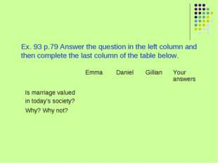 Ex. 93 p.79 Answer the question in the left column and then complete the las