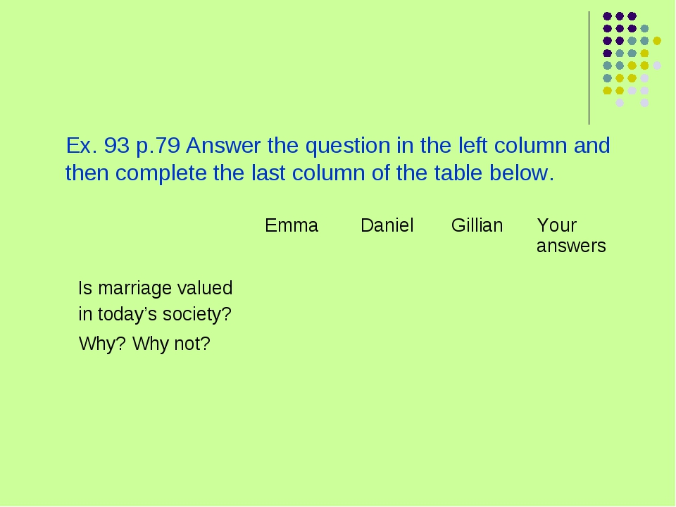 Ex. 93 p.79 Answer the question in the left column and then complete the las...