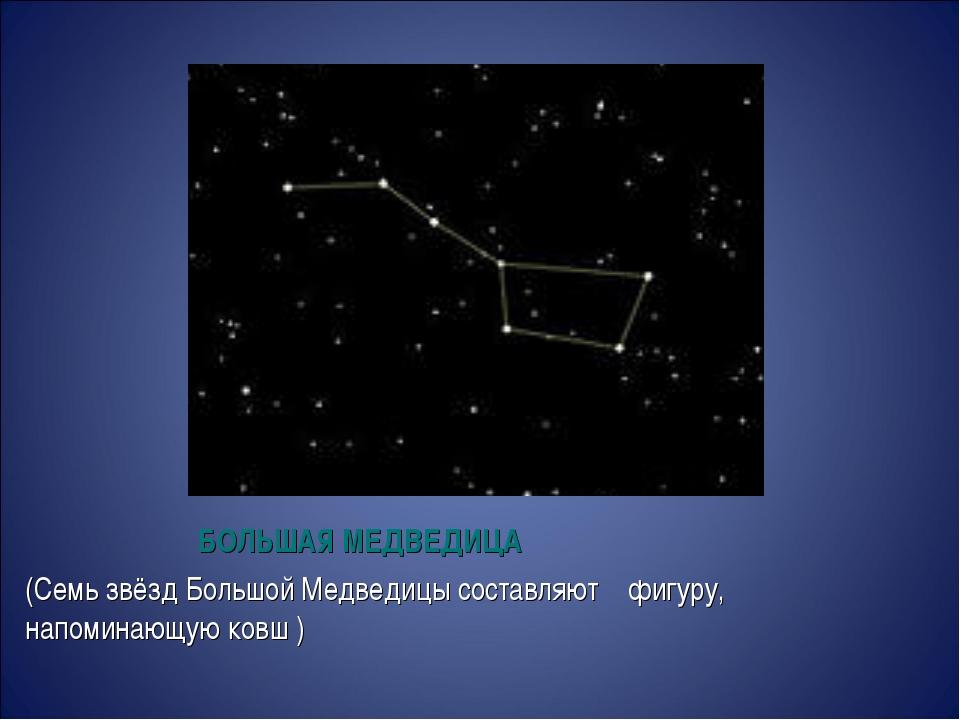 БОЛЬШАЯ МЕДВЕДИЦА (Семь звёздБольшой Медведицысоставляют фигуру, напоминающ...