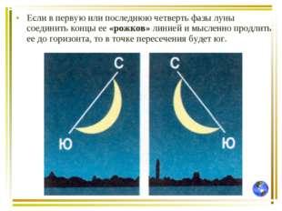 Если в первую или последнюю четверть фазы луны соединить концы ее «рожков» ли