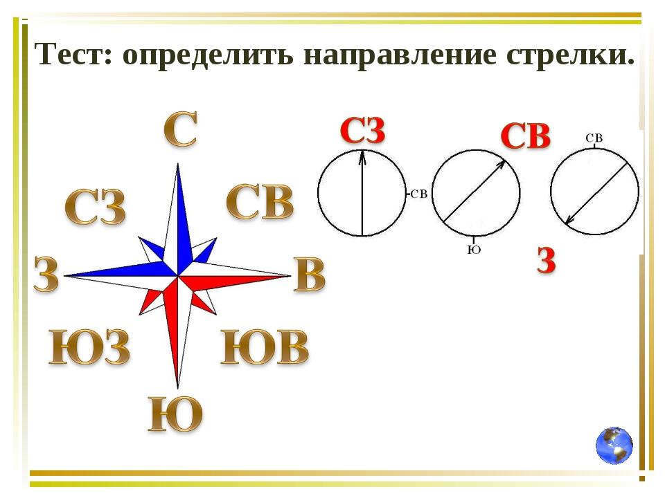 Тест: определить направление стрелки.