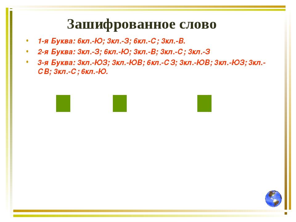 Зашифрованное слово 1-я Буква: 6кл.-Ю; 3кл.-З; 6кл.-С; 3кл.-В. 2-я Буква: 3кл...