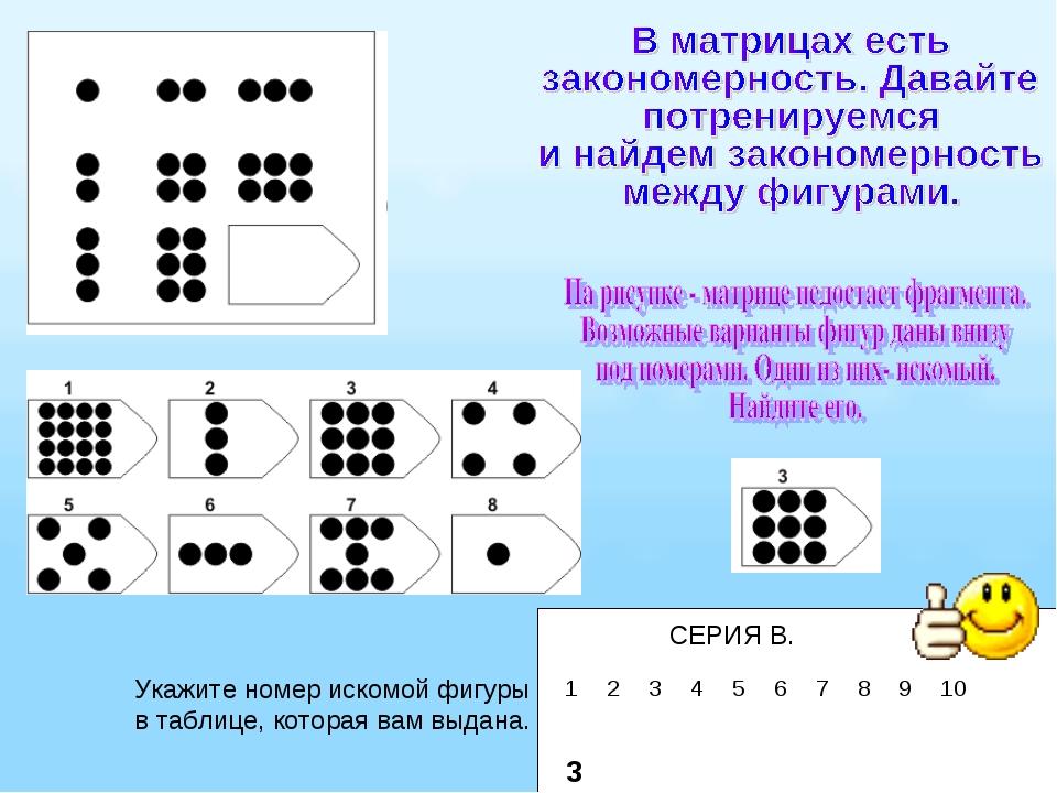 СЕРИЯ В. Укажите номер искомой фигуры в таблице, которая вам выдана. 3 123...