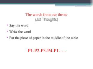 The words from our theme (Jot Thoughts) Say the word Write the word Put the p