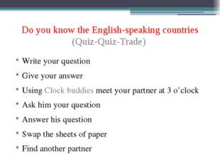 Do you know the English-speaking countries (Quiz-Quiz-Trade) Write your quest