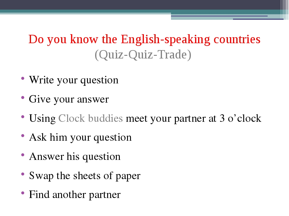 Do you know the English-speaking countries (Quiz-Quiz-Trade) Write your quest...