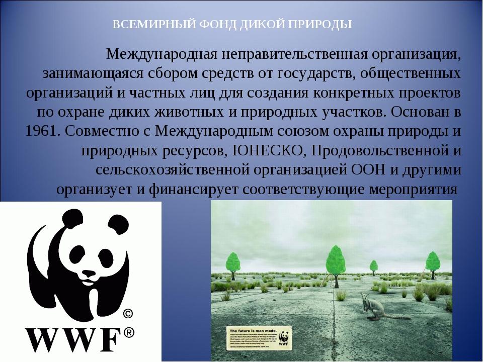 ВСЕМИРНЫЙ ФОНД ДИКОЙ ПРИРОДЫ Международная неправительственная организация, з...