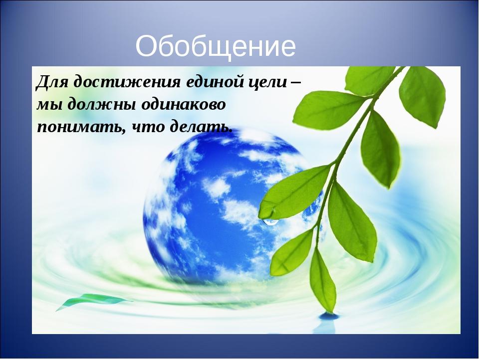 Обобщение Для достижения единой цели – мы должны одинаково понимать, что дела...