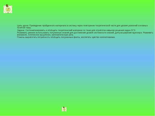 Цель урока: Приведение пройденного материала в систему через повторение теоре...